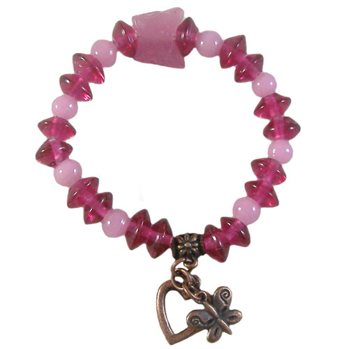 Kids Single Pink Elastic Bracelet Kit