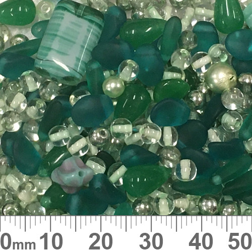 Teal Czech Glass Bead Mix