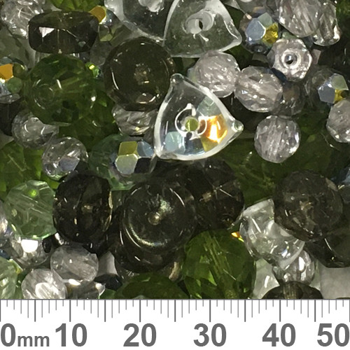 Dark Green Czech Glass Bead Mix