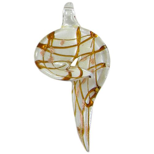 Large White Swirled Freeform Glass Pendant