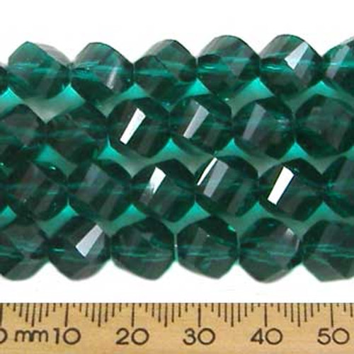 Teal Green 9mm Helix Glass Crystal Strands