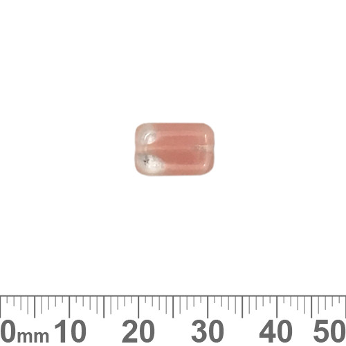 Peachy Pink 12mm Flat Rectangle Czech Glass Beads