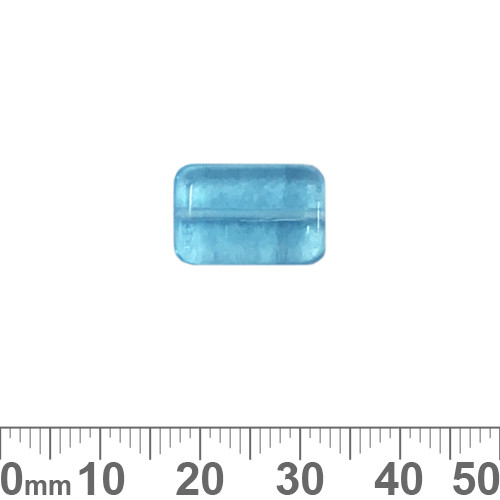 Aqua 16mm Flat Rectangle Czech Glass Beads