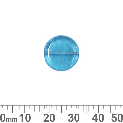 Aqua 15mm Flat Disc Czech Glass Beads