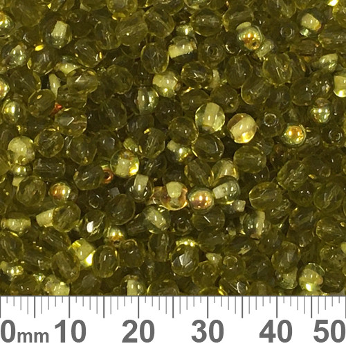 Olive Green Czech Glass Crystal Bead Mix