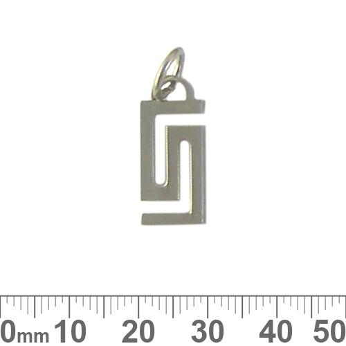 Rectangular Greek Key Metal Pendant