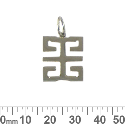 Square Greek Key Metal Pendant