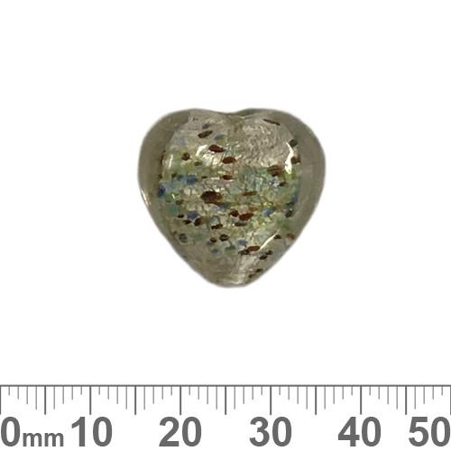 Silver Foil 20mm Heart Glass Beads