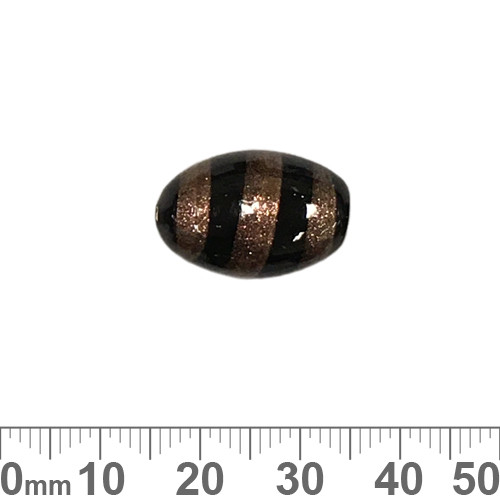 Black/Gold 20mm Oval Glass Beads
