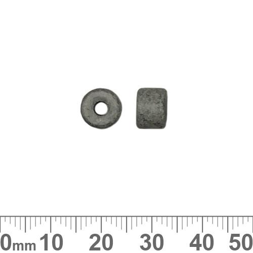 Matte Grey Greek Ceramic 6mm Tube Beads