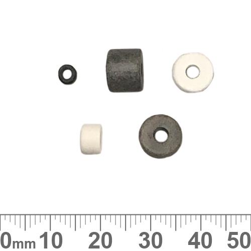 Matte Grey/White Greek Ceramic Bead Mix