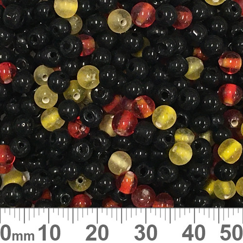 Black/Yellow/Red Small Round Glass Bead Mix