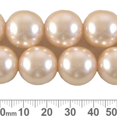 CLEARANCE 16mm Pale Peach Round Czech Glass Pearl Strands