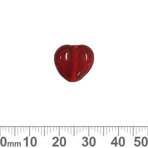 Red 14mm Heart Glass Beads