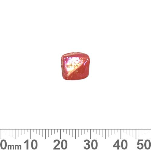 Opaque Dark Orange 11mm Twisted Flat Square Glass Beads