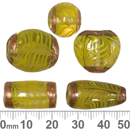 Gold Framed Yellow Glass Bead Mix