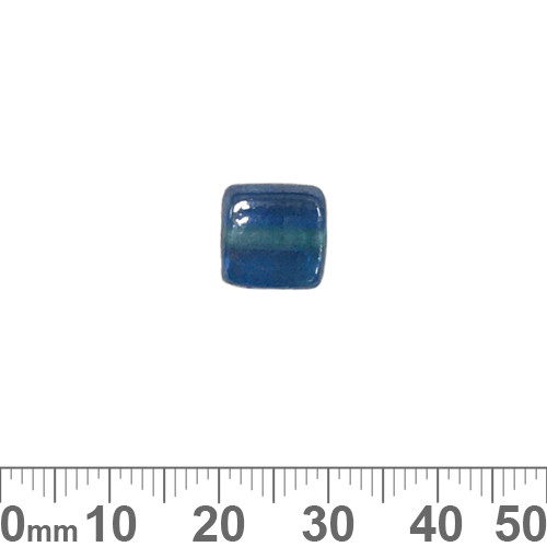 Dark Aqua Lustre 11mm Flat Square Glass Beads