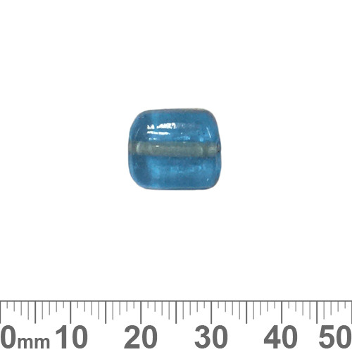Aqua 13mm Flat Square Glass Beads