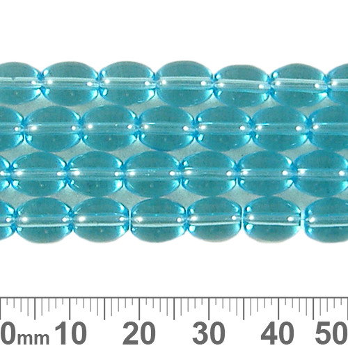 8mm Aqua Oval Glass Bead Strands