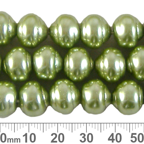 CLEARANCE 12mm Avocado Ringed Czech Glass Pearl Strands