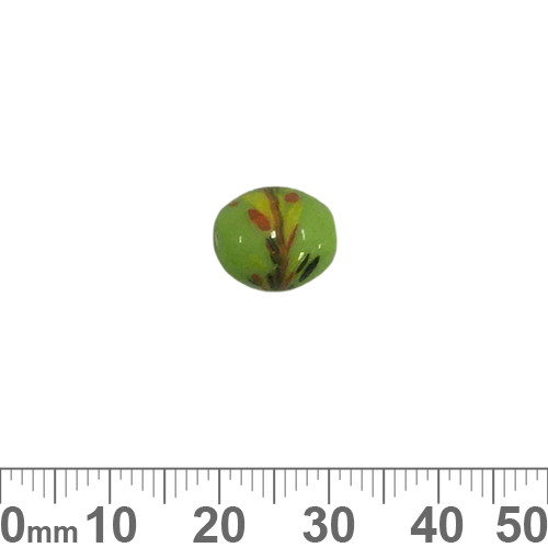 Opaque Splotched Green 10mm Oval Glass Beads