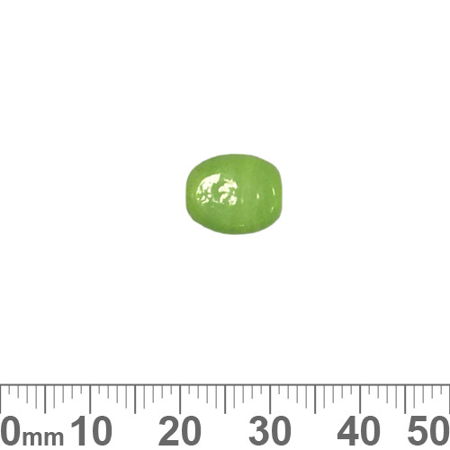 Opaque Lime Green 11mm Flat Oval Glass Beads