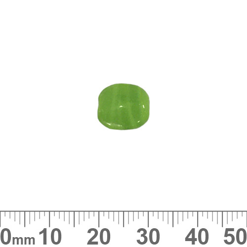 Opaque Lime Green 12mm Peaked Flat Oval Glass Beads