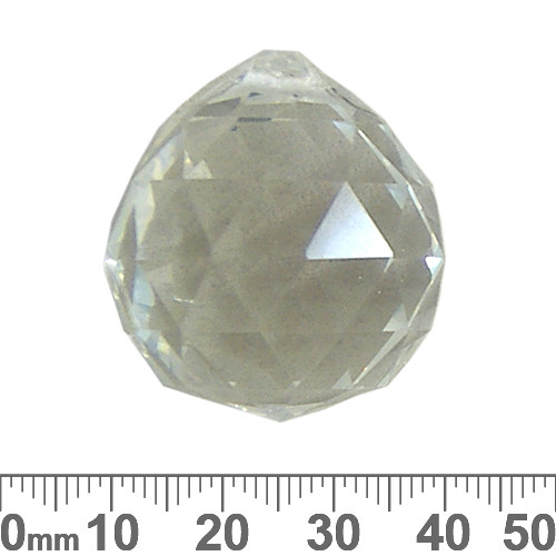 30mm Clear Round Faceted Crystal Drops