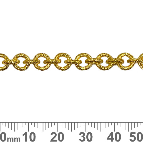 Bright Gold 6.5mm Heavy Round Brushed Chain