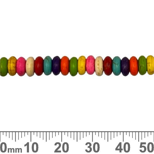 Rainbow Manmade Howlite 6mm Rondelle Beads