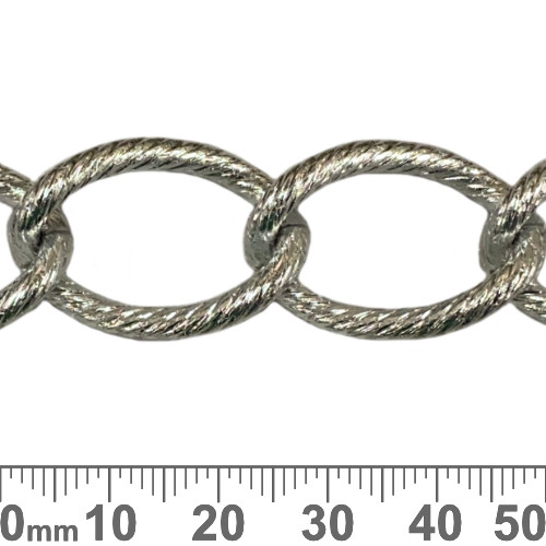 Bright Silver 28mm Extra Large Twisted Loop Chain