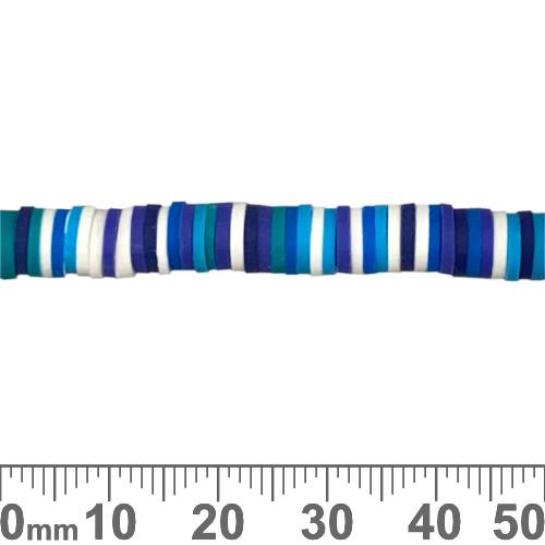 6mm Blue Heishi Polymer Clay Bead Strands