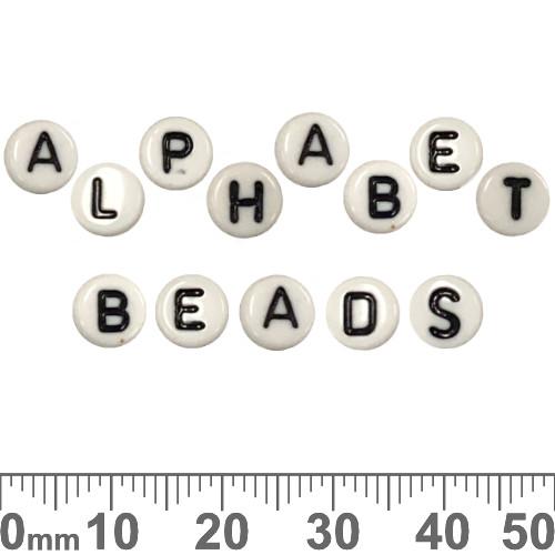 White with Black 7mm Flat Round Acrylic Alphabet Beads