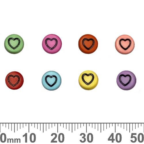 Colourful 7mm Flat Round Acrylic Heart Beads (Random Colour)