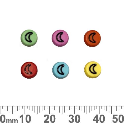 Colourful 7mm Flat Round Acrylic Moon Beads (Random Colour)