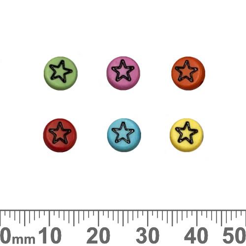 Colourful 7mm Flat Round Acrylic Star Beads (Random Colour)