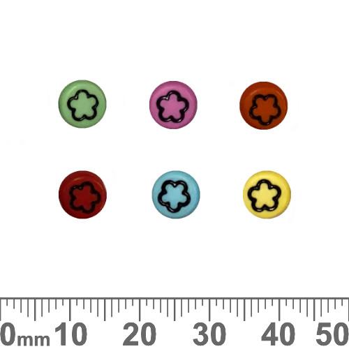 Colourful 7mm Flat Round Acrylic Flower Beads (Random Colour)