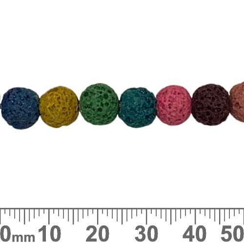 Rainbow Lava Rock 8mm Round Beads