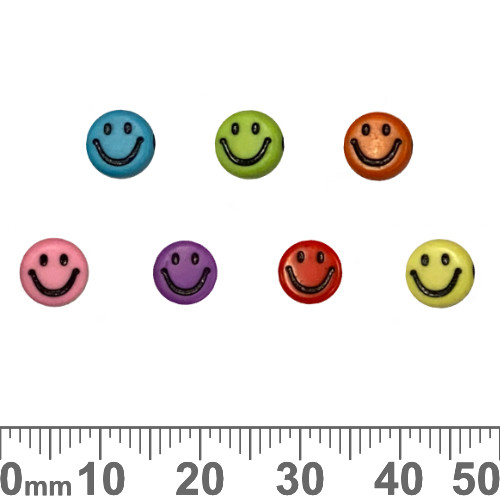 Colourful 7mm Flat Round Acrylic Smiley Beads