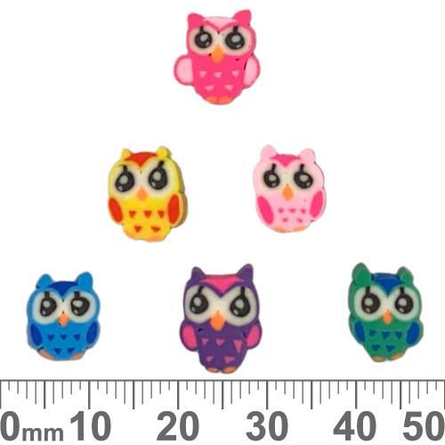 10mm Flat Owl Clay Beads (Random Colour)