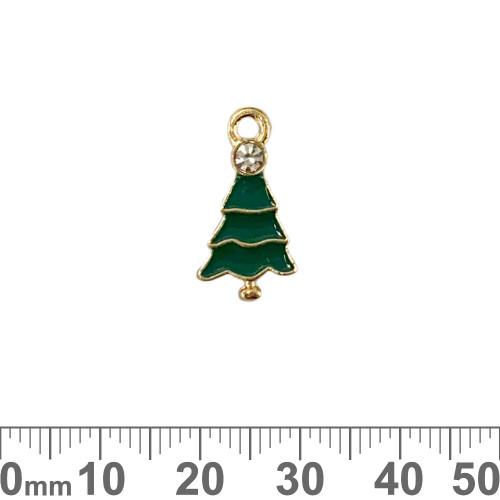 Green/Light Gold Christmas Tree Enamel Metal Charm