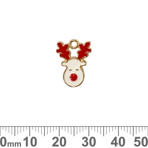 Light Gold Red/White Rudolf Enamel Metal Charm