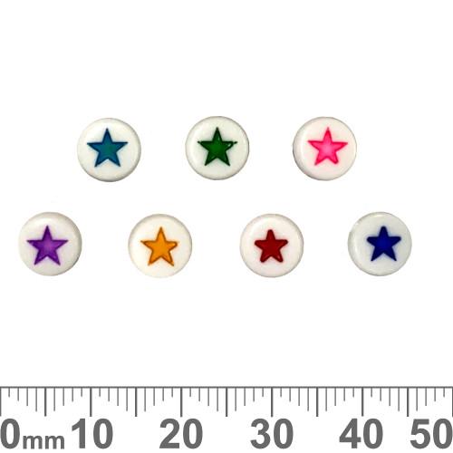 White 7mm Flat Round Acrylic Star Beads (Random Colour)