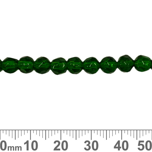 6mm Round Softly Faceted Green Glass Bead Strands
