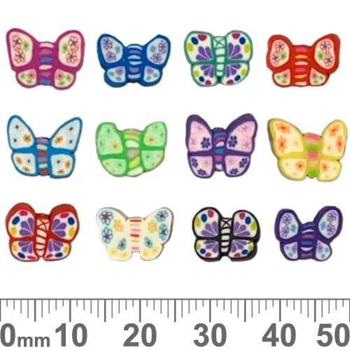 Flat Butterfly Clay Beads (Random Colour)