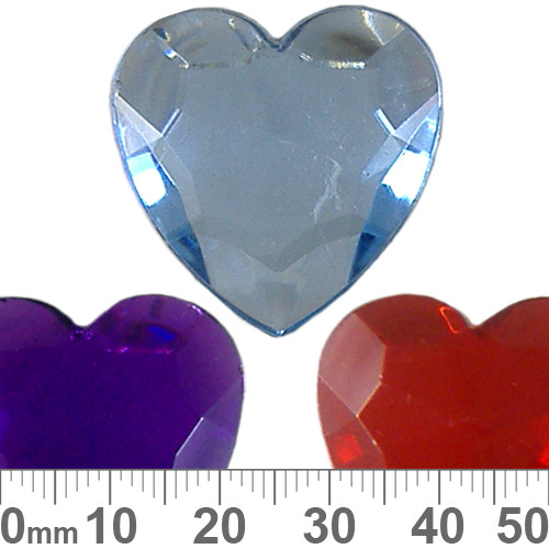 BULK 30mm Faceted Heart Plastic Diamantes