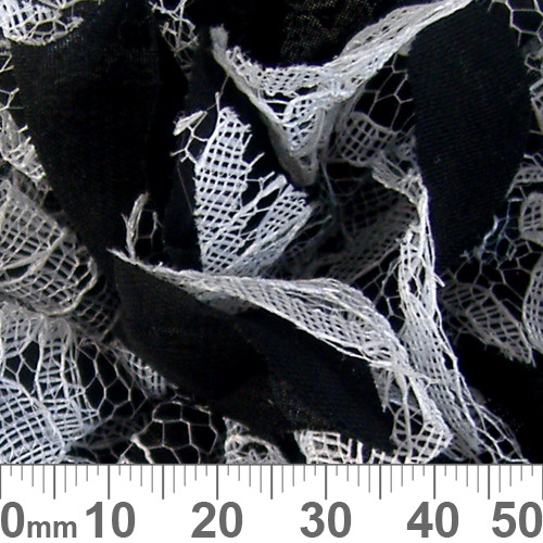 100mm Black/White Lace Fabric Flower