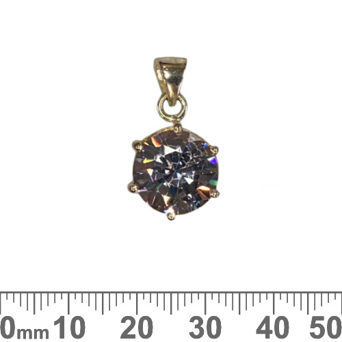 Small Round Purple CZ Sterling Silver Charm
