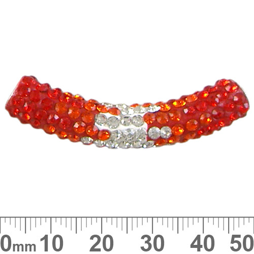 45mm Sparkly Transitional Orange/Clear Pave Tube