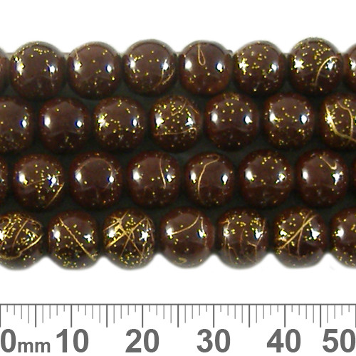 8mm Round Brown w Glitter Glass Bead Strands